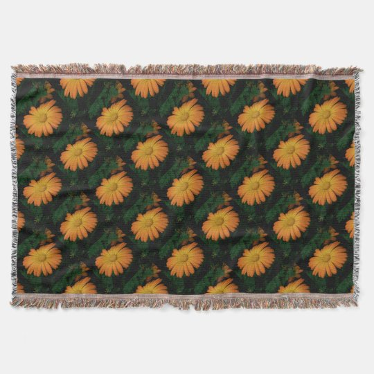Yellow orange daisy flower throw blanket