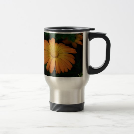 Yellow orange daisy flower travel mug