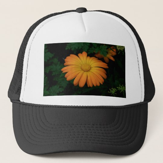 Yellow orange daisy flower trucker hat