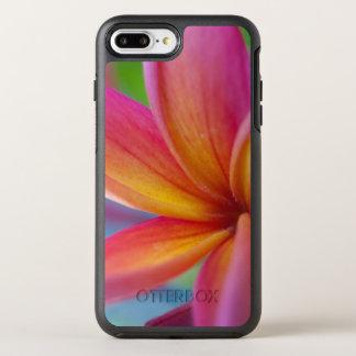 Yellow Orange Deep Pink Tropical Plumeria Flower OtterBox Symmetry iPhone 8 Plus/7 Plus Case