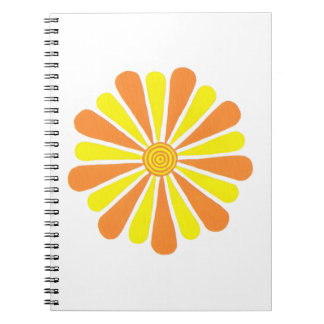 Yellow & Orange Energy Burst Pattern Notebooks