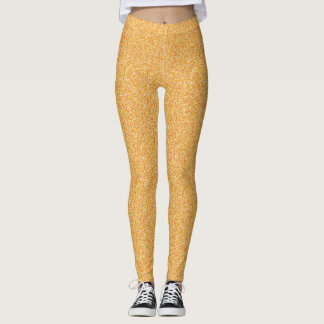 Yellow Orange Faux Glitter Leggings
