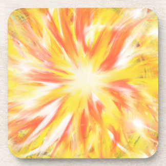 Yellow Orange Flames Fire Star Abstract Art Design Coaster
