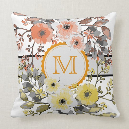 Yellow Orange Floral Vintage Monogram Throw Pillow