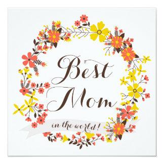 Yellow & Orange Floral Wreath Best Mom Card