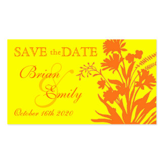 Yellow orange flower save the date business cards