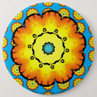 Yellow Orange Flower With Blue Background 6 Inch Round Button