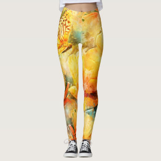 Yellow Orange Flowers and Butterfly in Garden Leggings