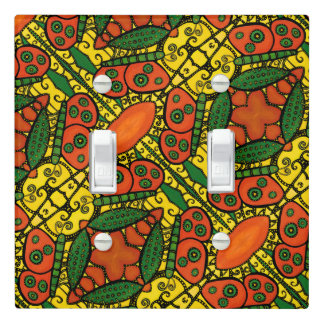 Yellow Orange Green Butterfly Pattern Light Switch Cover