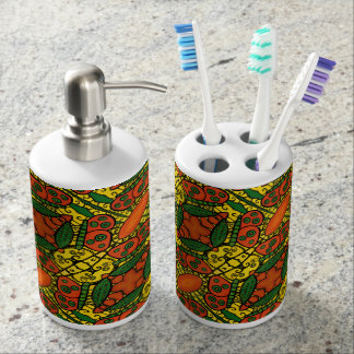 Yellow Orange Green Butterfly Pattern Soap Dispenser And Toothbrush Holder