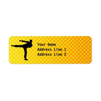 Yellow Orange Martial Arts Return Address Label