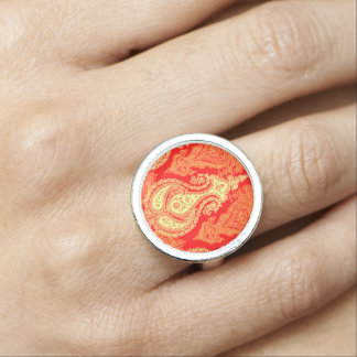 Yellow orange oriental paisley pattern photo ring