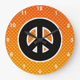 Yellow Orange Peace Sign Large Clock