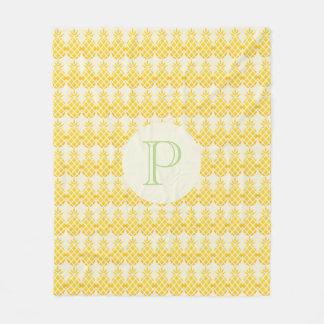 Yellow Orange Pineapple Pattern Monogram Blanket
