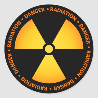 Yellow/Orange Radiation Symbol Sticker