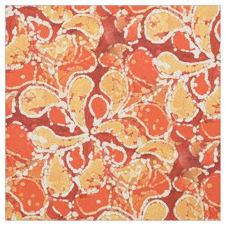 Yellow Orange Red Bali Batik Style Paisley Pattern Fabric