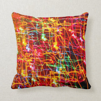 Yellow Orange Red Green Blue Pink Abstract Lights Throw Pillows