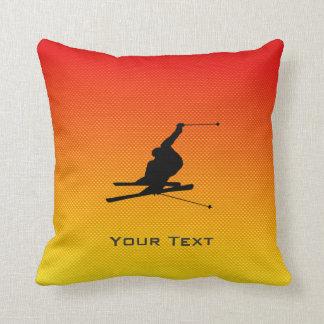 Yellow Orange Snow Skiing Throw Pillow