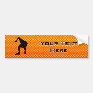 Yellow Orange Speed Skater Bumper Sticker
