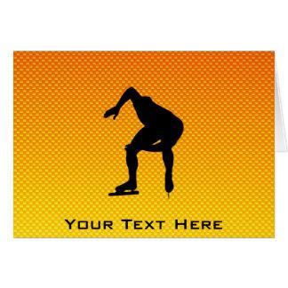 Yellow Orange Speed Skater Greeting Card