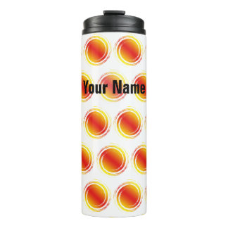 Yellow Orange Swirling Circles Suns with Your Name Thermal Tumbler
