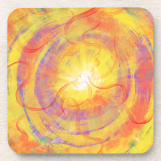 Yellow Orange Swirling Star Abstract Art Design Coaster
