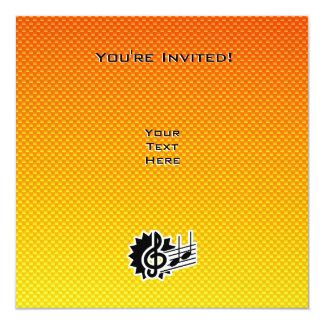 """Yellow Orange Treble Clef 5.25"""" Square Invitation Card"""