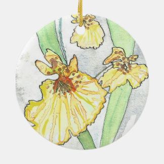Yellow Orchid Circle Ornament