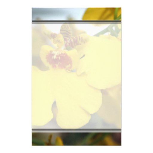 Yellow orchid flower customized stationery