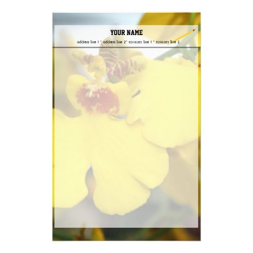 Yellow orchid flower custom stationery