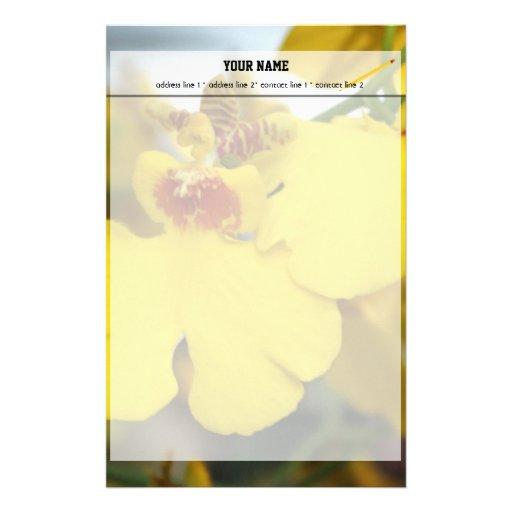 Yellow orchid flower custom stationery