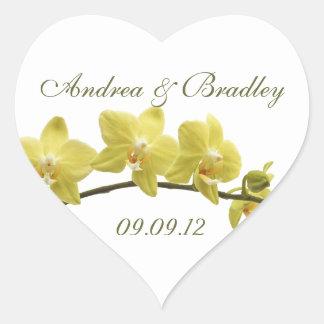 Yellow Orchids Wedding Envelope Seal Sticker