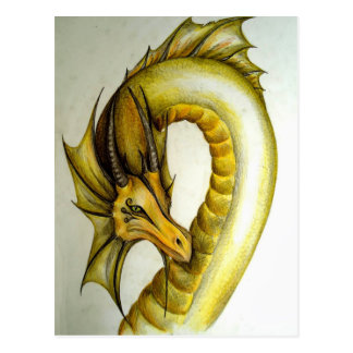YELLOW ORIENTAL DRAGON POSTCARD