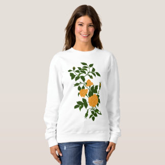 Yellow Ornamental Rose Recolored Vintage Image Sweatshirt