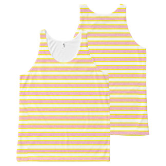 Yellow Outlined Static Pink Stripes All-Over-Print Tank Top
