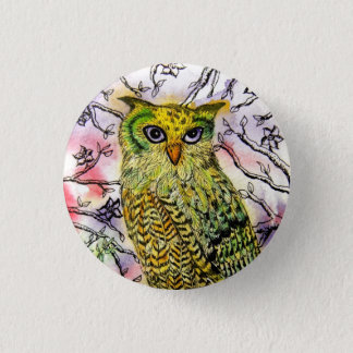 Yellow Owl 1 Inch Round Button