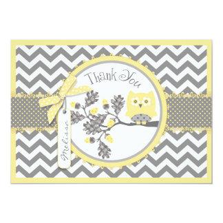 "Yellow Owl and Chevron Print Thank You 5"" X 7"" Invitation Card"