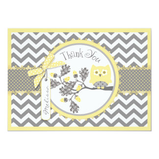"Yellow Owl and Chevron Print Thank You 5"" X 7"" Invitation Card"