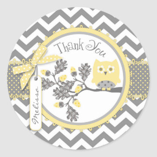 Yellow Owl Chevron Print Thank You Label Round Sticker