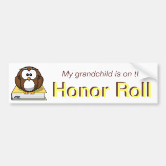 Yellow Owl Grandchild Honor Roll Bumper Sticker
