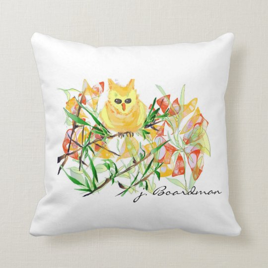 Yellow Owl in the Flowers Pillow
