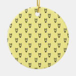 Yellow owl pattern christmas tree ornaments
