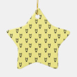 Yellow owl pattern ornaments