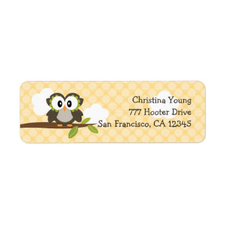 Yellow Owl Return Address Labels Custom