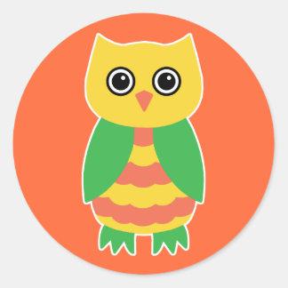 Yellow Owl Round Stickers