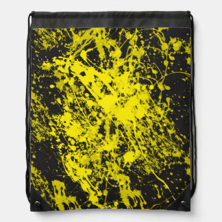 Yellow Paint Brush Splatter Drawstring Backpack
