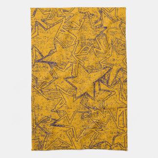 Yellow Painted Stars Pattern Kitchen Towel