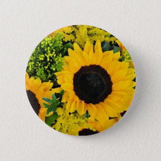 Yellow painted sunflowers 2 inch round button