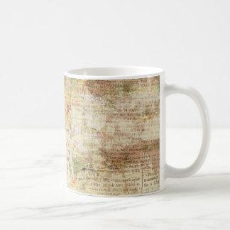 yellow painted vintage newspaper coffee mug