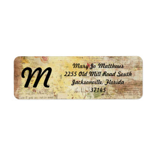 yellow painted vintage newspaper return address label
